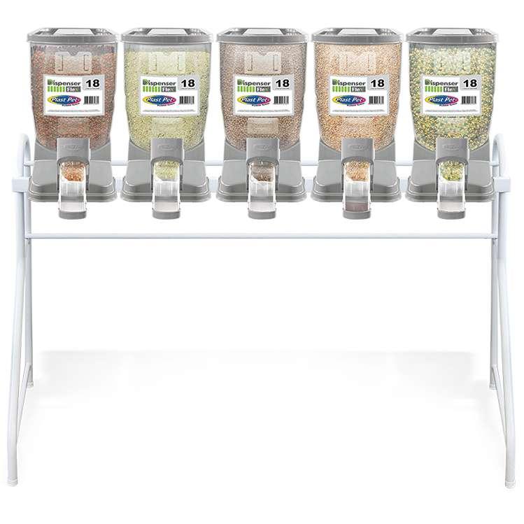 Kit Dispenser de Ração Pequeno (5 x 18 L) - Plast Pet